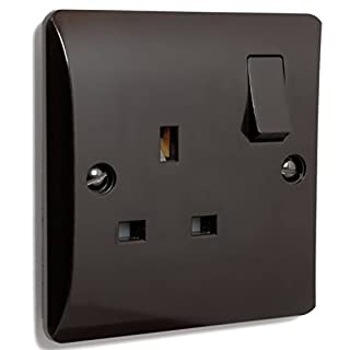 Wall Socket in Brown Bakelite 240v 1 Gang 13 Amp Switched Retro by Art Deco Emporium
