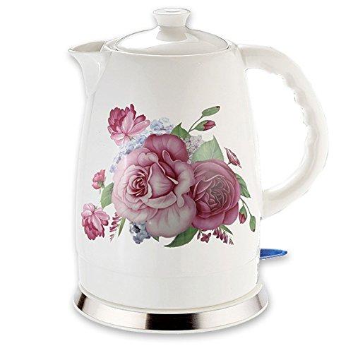 Elektrischer Keramik Wasserkocher schnurlos 2Liter 1500-1600W (Französische Rose)
