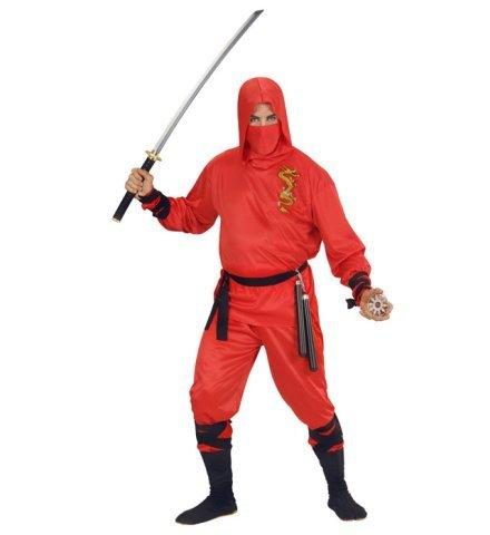 Rotes Ninja Kostüm für Erwachsene Größe - Dschungel Ninja Kostüm