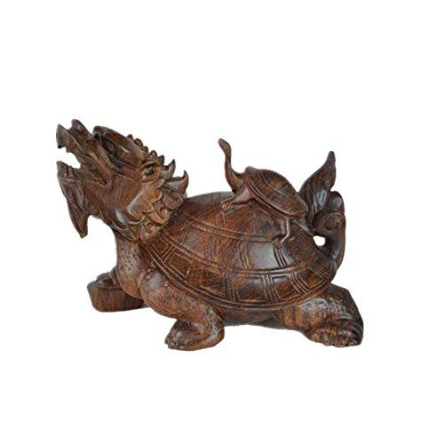 SZXC Mahagoni Ornamente Hölzernes Handwerk Schwarze Säure Stöcke Mutter Und Sohn Glatte Drachen Schildkröte (Muster Kürbis Schnitzereien)
