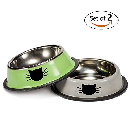 Zubita Futternapf 2 Stück Katzennapf Edelstahl Fressnapf Hundenapf Hunde Katzen Wassernapf Gummiert Flach Rutschfest Stoss und Kratzfest Futterspender (Zufälliger Stil)