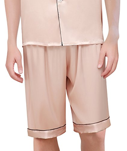 Dolamen Herren Schlafanzug, Satin Paare Kurz Zweiteiliger Pyjamas Frühling Sommer, Herren Schlafanzug mit Überprüfen Sie geknöpftes Hemd Kragen mit Tasche L XL XXL Gold
