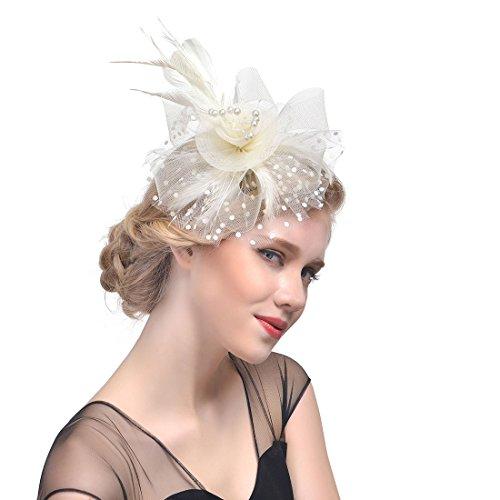 eier für Kostüm Karneval Elegant Fascinator Hut Braut Hair Clip Accessoires Cocktail Royal Ascot für Damen (Beige) (Wind Kostüm Ideen)