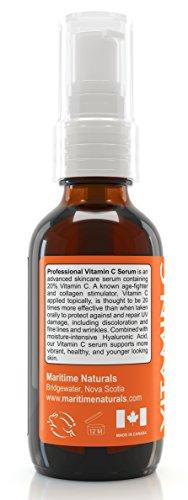 De Canadá  Vitamin C Serum  20 % de vitamina C con ácido hialurónico y vitaminas C+E  tratamiento profesional para la piel del rostro  ayuda a reparar los daños solares  aclara las manchas causadas por la edad  combate las ojeras y las arrugas. Orgánico  se puede usar con un Dermaroller. 60ML
