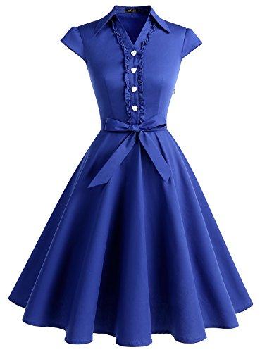 WedTrend Damen 50er Retro Herzform Knopf Rockabilly Kleid Kurzer Ärmel A-Linie Kleider WTP10007 Royal Blue 2XL -