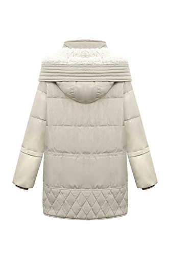 Le Donne Si Inverno Pieno Zip Incappucciato Spessa Eskimo Puffer Cappotti Gli Indumenti Esterni Beige