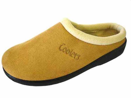 Ladies COOLERS Slip on Mule Slippers MICROSUEDE Warm Fleece Lined 289, Beige, 8 UK