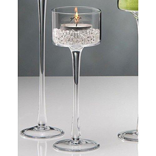 6er SET Kerzenhalter, Teelichthalter auf Fuß, Glas, H.25 cm, Ø 9cm, Sandra Rich