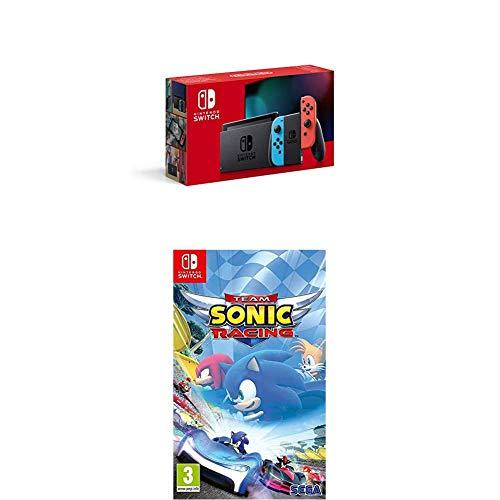 Nintendo Switch avec paire de Joy-Con Rouge Néon et Bleu Néon + Team Sonic Racing
