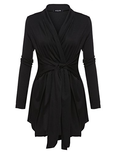 Beyove Damen Cardigan Offener V-Ausschnitt Wasserfall Strickjacke Strickmantel Sweatshirt Langarmshirt Mantel Tops Outwear einfarbig