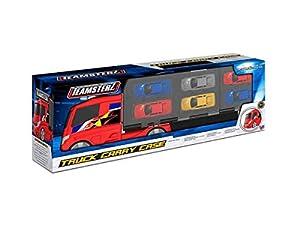 Teamsterz 1416803 Camión Portacoches para 12 Coches, 4 Coches Incluidos