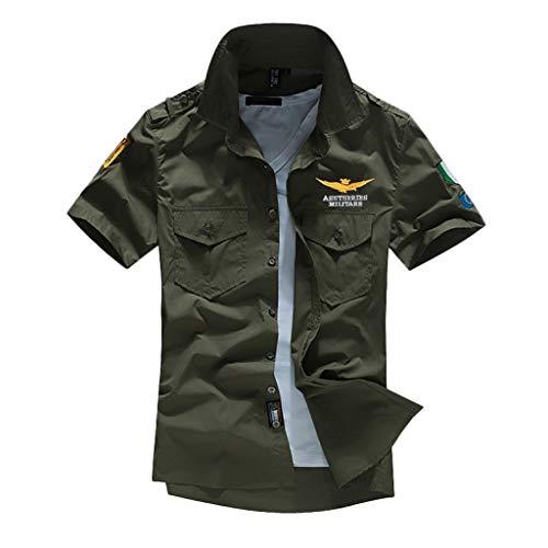 Xmiral T-Shirt Uomo Semplice Tee Maglietta da Uomo Tee T-Shirt Uomo Stretch Slim T-Shirt Uomo T-Shirt Maglietta Uomo Casual Camicia T-Shirt Uomo Sportivi Vintage Stretch XL Army Green