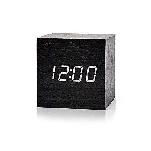 fomobest LED Wecker Wiederaufladbar Holz Tischuhr Klein Cube Datum/Temperatur Anzeige Digital Wecker Schwarz