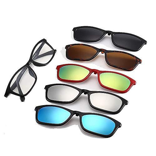 Y-WEIFENG Kleine Retro-Stil Sonnenbrille mit 5-teiligen austauschbaren Gläsern für Männer Frauen Unbreakable TR90 Frame Clip-on UV-Schutz Sonnenbrille mit Magnetic Brille