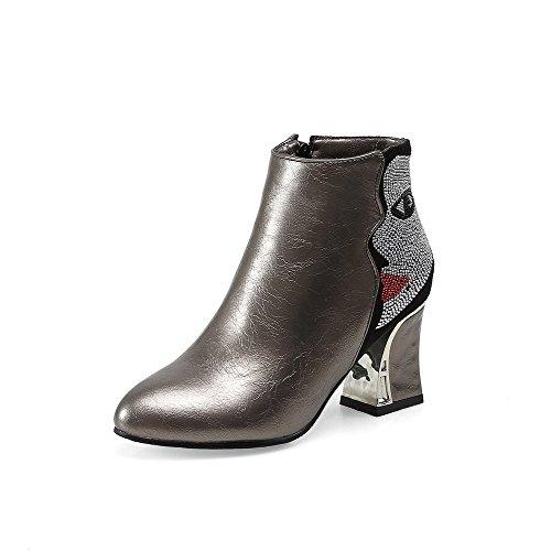 AllhqFashion Damen Reißverschluss Knöchel Hohe Blend-Materialien Hoher Absatz Stiefel Silber