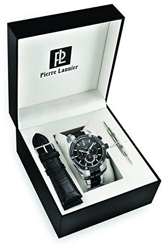 Pierre Lannier - 373A481 - Coffret - Montre Homme - Quartz Chronographe - Cadran Gris - Bracelet Acier Bicolore