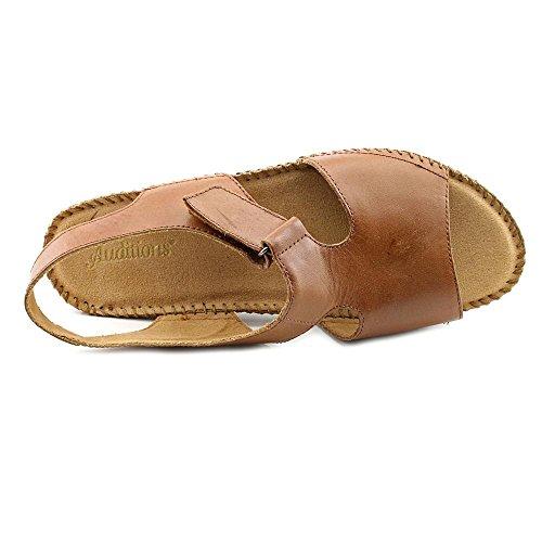 Auditions Sprite Offener Spitze Leder Slingback Sandale Saddle Tan