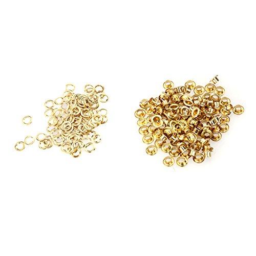 100pcs Weinlese Messingmetallöse Durchführungstülle für Leder Craft 5mm Silber Ton Gold - Silber-gold-ton