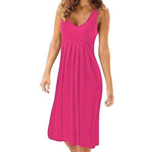 ESAILQ Damen Sommerkleid Damen V Ausschnitt Trägerkleid Spaghetti Buegel Blumen Sommerkleid(L,Pink)