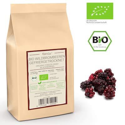 250g gefriergetrocknete BIO Wild-Brombeeren - fruchtige BIO Brombeeren getrocknet, ganze Beeren ohne Zusätze - biologisch abbaubare Verpackung