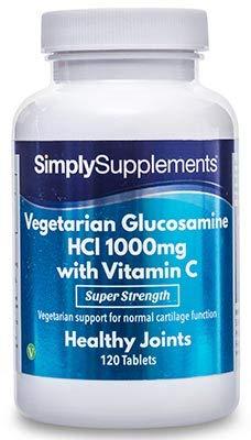 Vegetarisches Glucosamin HCI 1000mg mit Vitamin C 40mg - 120 Tabletten - Versorgung für bis zu 4 Monaten - vegetarische Unterstützung für einen aktiven Lebensstil - Simply Supplements