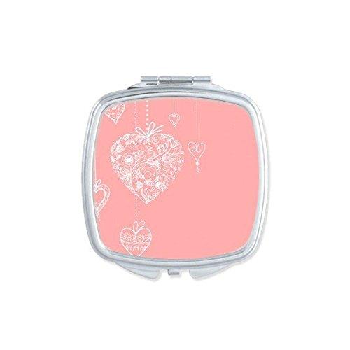 DIYthinker Valentinstag Rosa-weißes Herz-geformte Blumen Reben Illustration Muster-Quadrat-Compact Make-up Taschenspiegel Tragbare Nette kleine Handspiegel