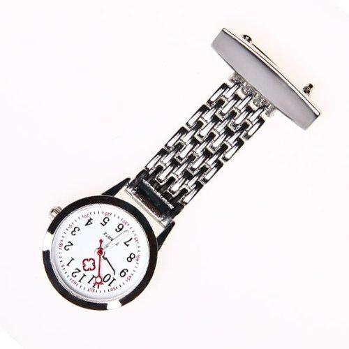 Brand-New-Nurse-Stainless-Steel-Quartz-Silver-Fob-Watch-Silver