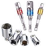 Feifox Akkuschrauber Stecknuss Adapter Steckschlüssel Nuss Set 3-teiliges 1/2 3/8 / 1/4 Zoll + Stecknuss Adapter 4-teiliges 1/4 auf 3/8-3/8 auf 1/4 Zoll - 3/8 auf 1/2-1/2 auf 3/8 (7-teiliges Farbe)