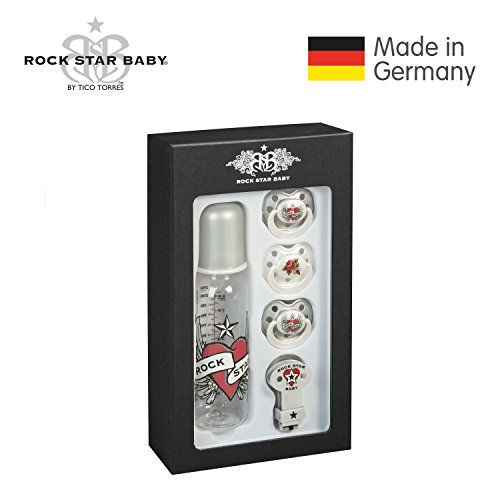 ROCK STAR BABY® by Tico Torres Geschenkset für Babys ab 6 Monate - 5 teilig: 3 Schnuller, 1 Schnullerband, 1 Babyflasche 250 ml – Heart & Wings (Green Star Tickets)