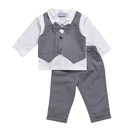 Jungen 2 Stück Kleid Anzug Weiß Grau Hemd Fliege Hose Kinder Outfit Sets (Grau-haut-anzug)