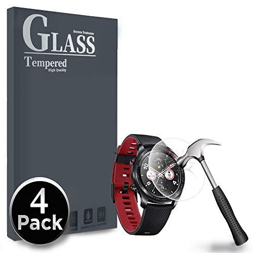 Ferilinso für Honor Watch Magic Panzerglas Schutzfolie, [4 Pack] Gehärtetes Glas Displayschutzfolie mit Lebenszeit Ersatzgarantie für Honor Watch Magic (Transparent)