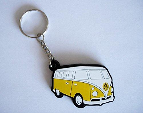 Llavero de goma de furgoneta VW Combi, color amarillo
