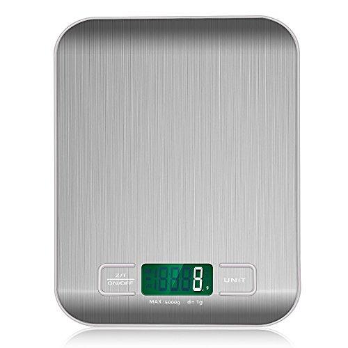 VersionTech Edelstahl Optik Multifunktionelle Digitale Küchenwaage Haushaltswaage mit Hoher Präzision bis zu 1g Maximalgewicht 5kg - Grau -
