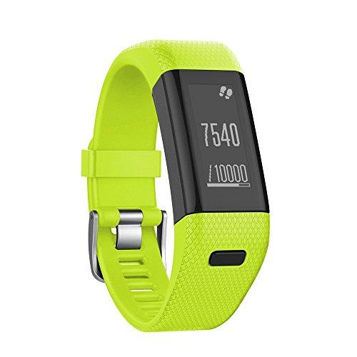 JiaMeng Relojes Deportivos, Pulsera Actividad Pulsera Inteligente Impermeable de Repuesto de Silicona Suave Pulsera de Pulsera para Garmin Vivosmart HR +(Verde)