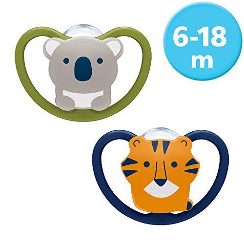 NUK Space Schnuller, kiefergerechte Form, 6-18 Monate, Silikon, Koala & Tiger, 2 Stück