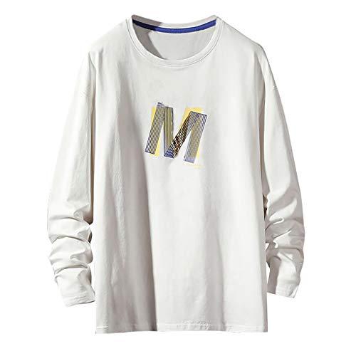 Sweatshirt Felpa Uomo Top a Maniche Lunghe comode Larghe con Stampa di Lettere di Moda di Tendenza di Autunno (XXL,2- Bianca)