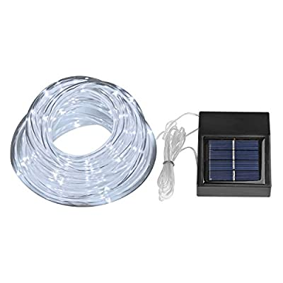 LemonBest® Waterproof Solar Rope Lights, 100 LEDs, 1.2 V, Daylight White, Portable, with Light Sensor, Outdoor Rope Lights, Perfect for Christmas, Wedding, Party