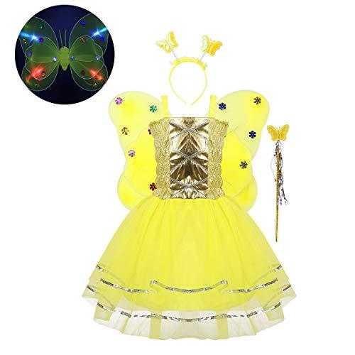 FEESHOW Kinder Mädchen Halloween Fee Cosplay Kostüm Prinzessin Fairy 4-teiliges Set Mesh Tutu Kleid+LED Flügel+Zauberstab+Haarreif Gelb OneSize
