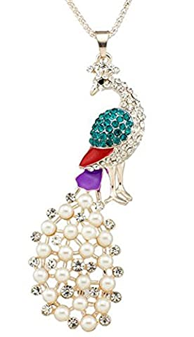 SaySure - Faux Pearl Peacock Crystal Noble Delicate Lovely Necklaces