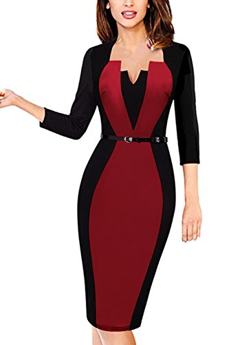 Damen V-Kragen Promi Businesskleid Bodycon Abend Party Cocktail Kleid mit Falten Weinrot Gr.2XL (Cocktail-abend-kleid)