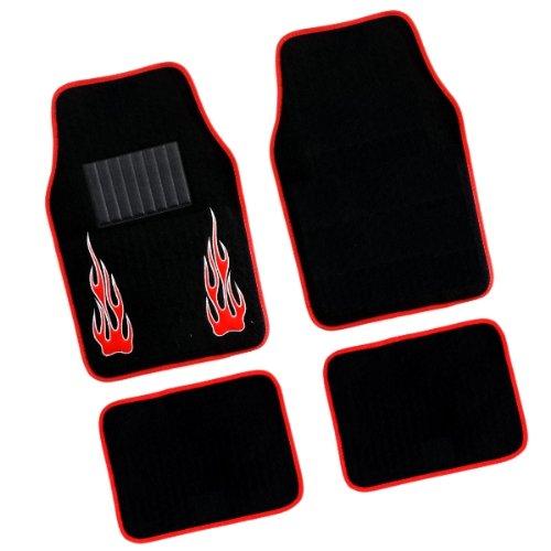 akhan fum902 – Paillasson Tapis de Sol Kit Voiture Tapis Noir/Rouge Flamme