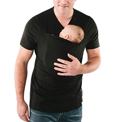 Q&M Känguru-Vater T-Shirt Tasche Baumwolle Atmungsaktiv Beiläufig Weste Multifunktion Kleider Tragetuch Panzer,L
