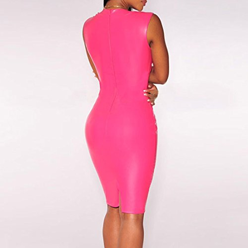 Europa Frauen tiefe V Ansatz duennes Kleid New Split Slit Fashion Wrap Minikleid M / L Rose Red