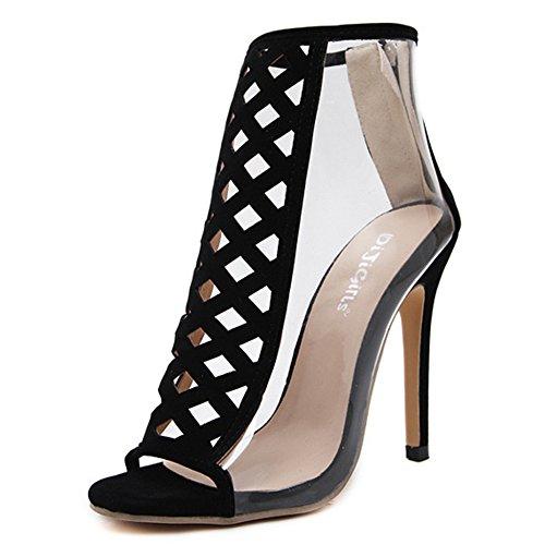 Sexy Cut Out Transparent High Heel Schuhe Frauen Peep Toe Stiletto Sandalen Zurück Reißverschluss Pumpen Damen Club Nightclub Roman Schuhe,Black-EU:37/UK:4.5