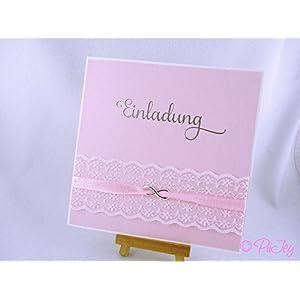 Eine Einladungskarte zur Hochzeit, Taufe Geburtstag mit Spitze und Infinityzeichen, Unendlichkeitszeichen