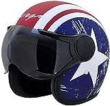 #5: Vega Jet Captain Open Face Helmet (Dull Red Mettalic Blue, M)