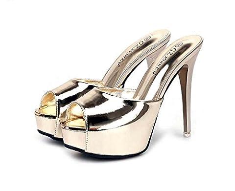 Onfly Pointe Toe Peep Toe Plate-forme épaisse Des sandales aux femmes Simple Charmant Sexy À talons hauts Mules Chaussons Chaussures de dressage Boîte de nuit Stylet Chaussures , gold , 38