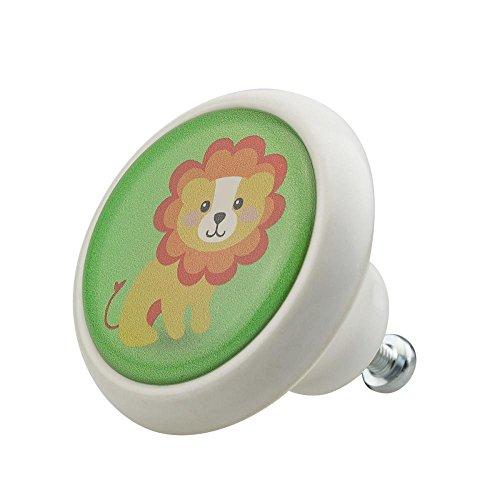Möbelknopf Möbelknauf Möbelgriff Tier Löwe Tierkind 03266W aus über 4 5 verschiedenen Farben Mustern und Designs für Kinder Kinderzimmer Kindermöbel