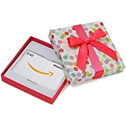 Amazon.de Geschenkkarte in Geschenkbox - 40 EUR (Bunte Punkte)