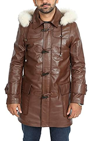 Mens Genuine BROWN Leather Duffle Coat 3/4 Long Horn Toggles